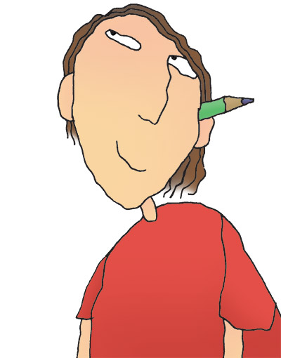 Illustration of student with pen in ear