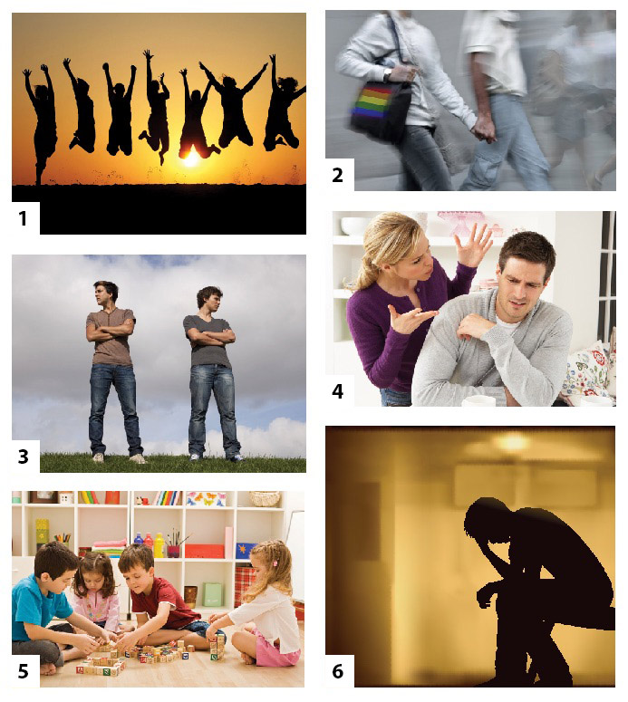 six images showing different body language
