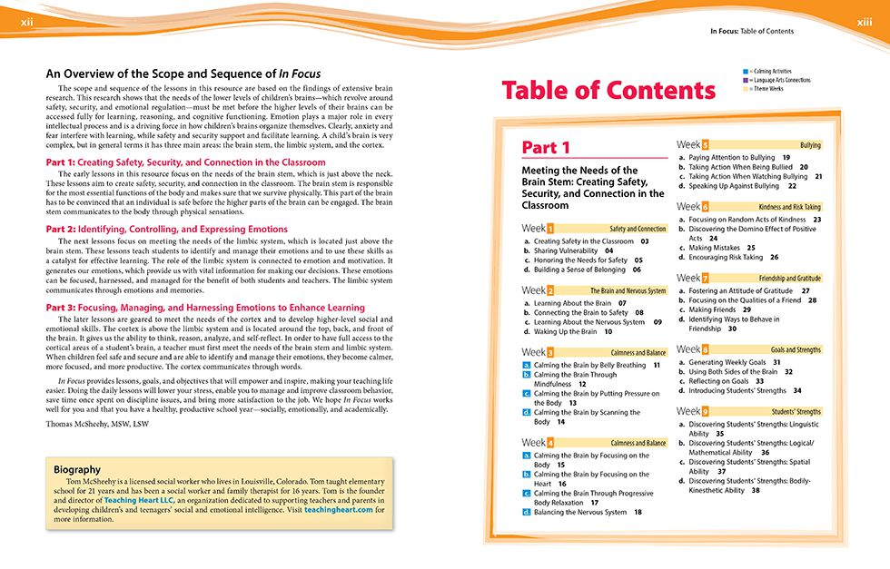 In Focus (Grades K-2) Pages xii and xiii