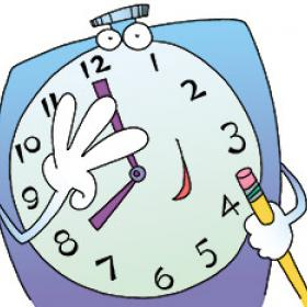 illustration of a clock character holding a pencil
