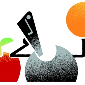 Stick figure contemplating apples vs oranges