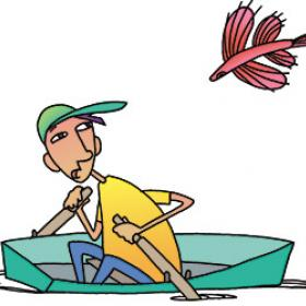 Illustration of a flying fish jumping over a boy in a rowboat