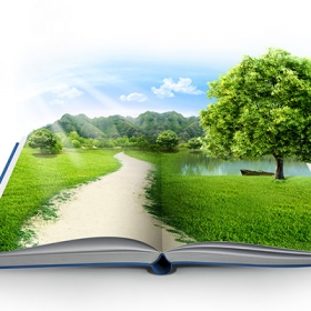Open book with imaginary landscape