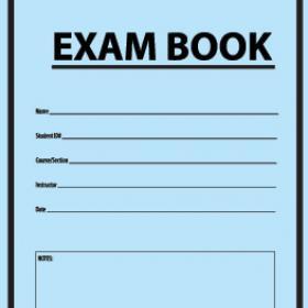 Photo of a blue exam book