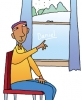 Illustration of boy writing his name in a frosty window