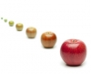 a line of apples transition from unfocused to focused