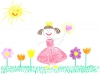 child crayon drawing of beautiful day and princess girl