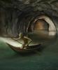 Gollum paddling in underground river